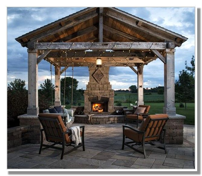 Outdoor Pavilion With Fireplace