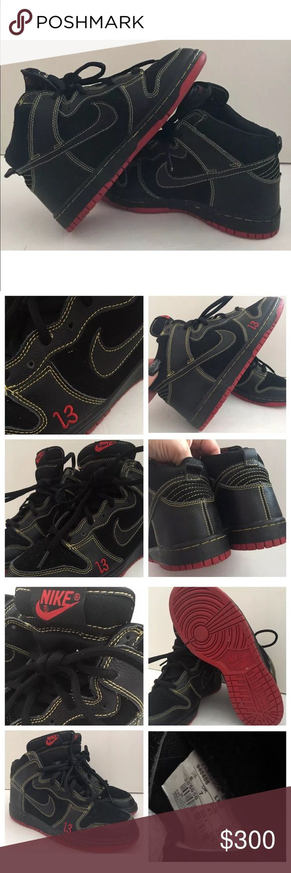 """04 NIKE DUNK HIGH PRO SB """"UNLUCKY"""" FRIDAY THE 13th 2004 """"RARE"""" Authentic Nike Dunk Pro SB """"UNLUCKY"""" Friday The 13th Freddy/Jason Sneakers ! Great Condition as you see in pics ! Had them stored away in box. Don't have original box but I have a box they can be stored in ! Size 8 ! Black/Red/Yellow ! Any Q's just tag me ! Thanks for peeking in my closet ! 😉 Nike Shoes Sneakers"""