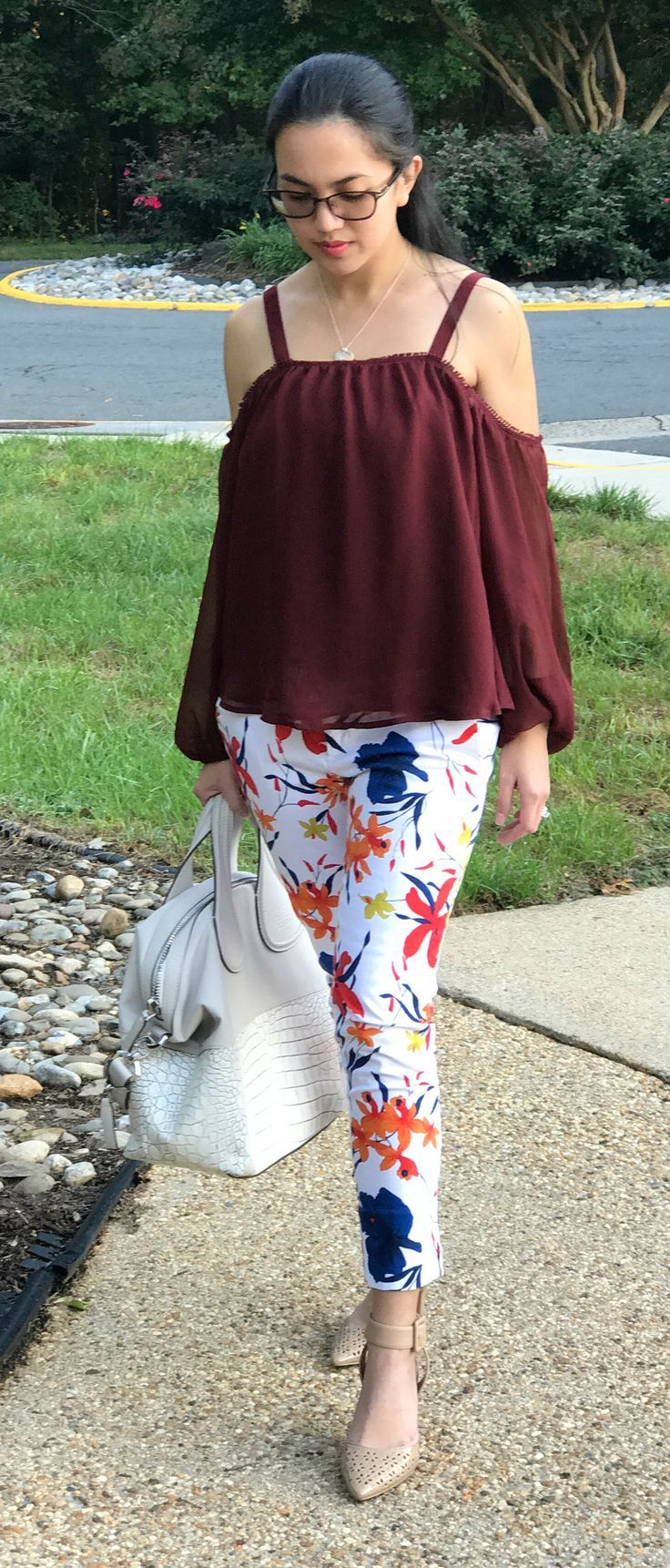 Express cold shoulder top, Banana Republic floral pants, Sam Edelman nude shoes, Givenchy croc embossed nightingale - outfit idea for women in fall. Click on the image to learn more. #fashion #style
