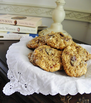 Chewy White Chocolate Chunk-Cherry Oatmeal Cookies