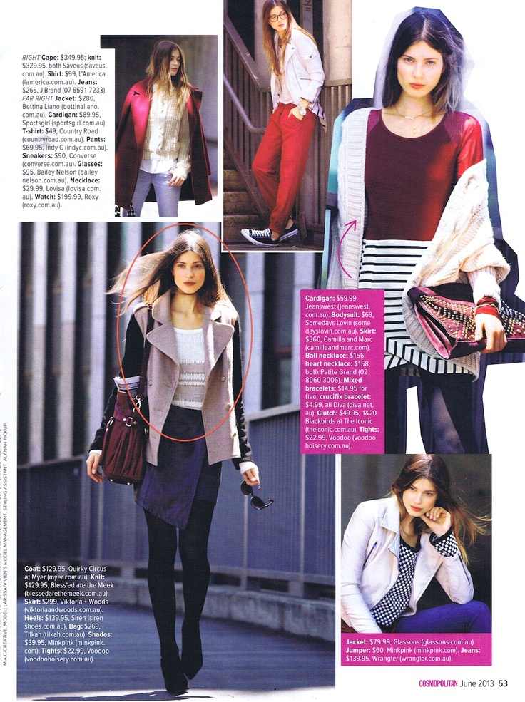 Cosmopolitan Australia June '13  How to do winter chic, featuring the Distance Knit.