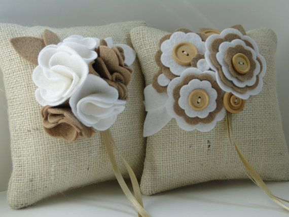 Burlap Ring pillow with felt flowers