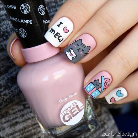 Freehand Pusheen for Valentine's Day nail art by barbrafeszyn