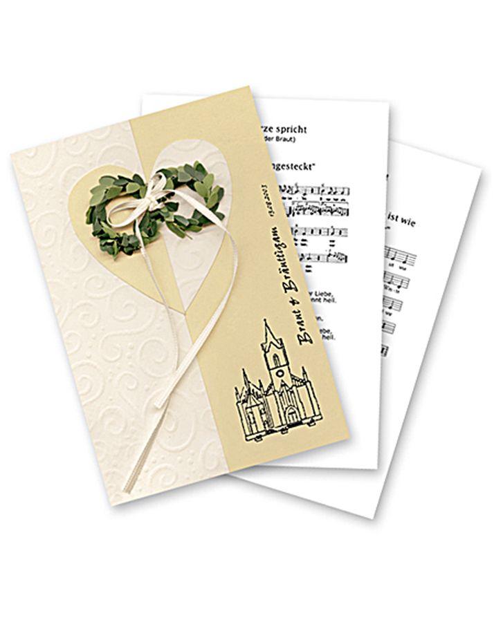Kirchenheft im Look der Einladungskarte - Die Idee bei diesem Kirchenheft war, die aufwändig gebastelte Einladungskarte zu übernehmen, ohne weitere Stunden zu investieren, um das Cover zu erstellen. Also haben wir die gebastelte Vorlage der Einladungskarte eingescannt und als Cover auf festes Papier gedruckt.