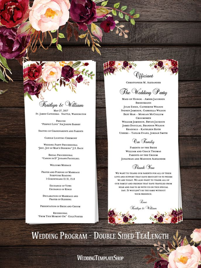 slim wedding program romantic blossoms floral marsala