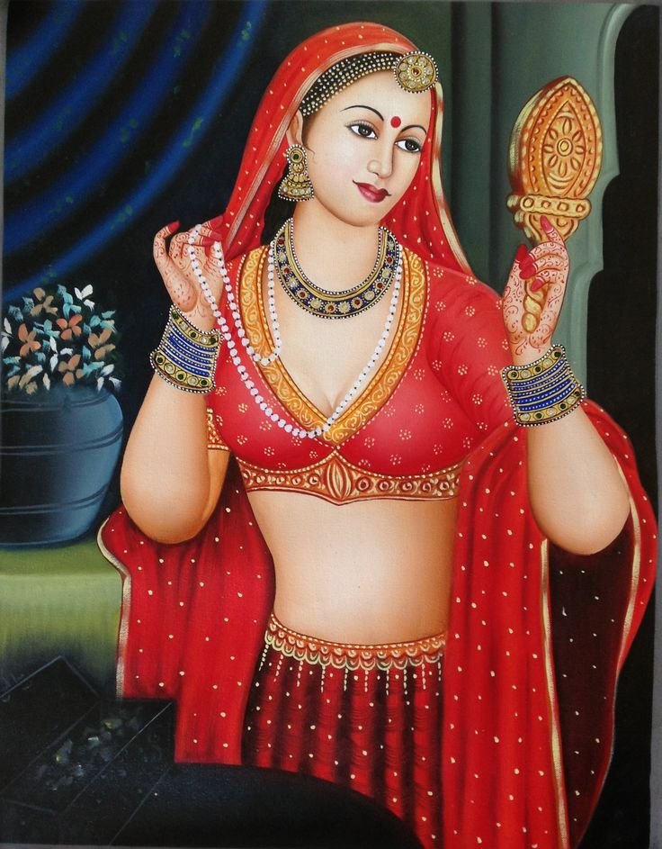 Rajasthani Lady Painting Handmade Indian Nayika Damsel Embossed Canvas Oil Art