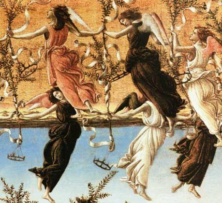 """Мистическое Рождество - Деталь: Танцующие ангелы - Боттичелли. Тему прославления Христа подхватывает хоровод ангелов в небе, образуя круг, своеобразный нимб славы и торжества. В руках ангелы держат оливковые ветви и развевающиеся ленты с евангельскими текстами: """"Слава в вышних богу и на земле мир, в человеках благоволение"""", а к оливковым ветвям, символизирующим мир, подвешены золотые короны."""