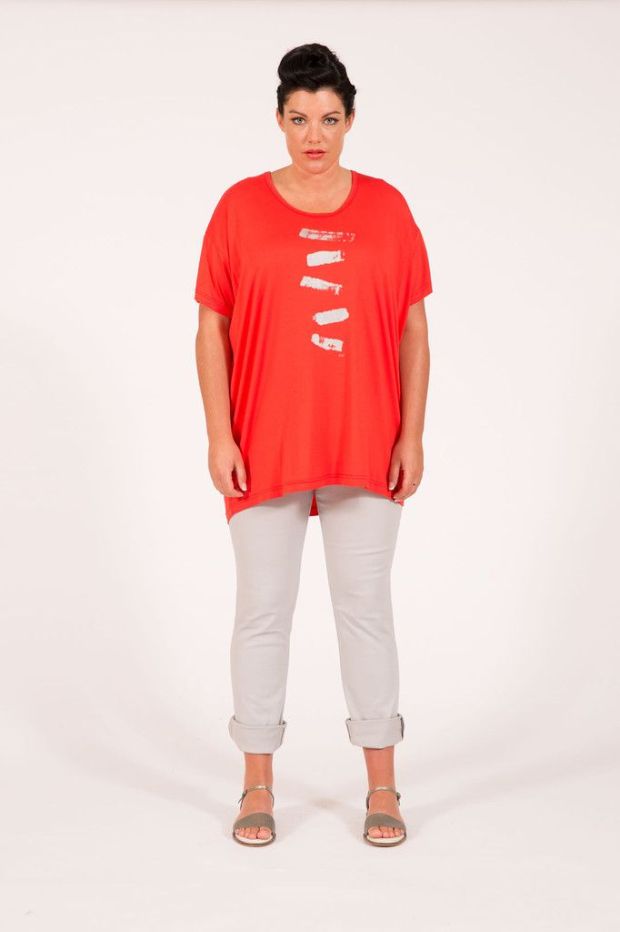 S16045 Brushstrokes Box Tee Coral Multifit