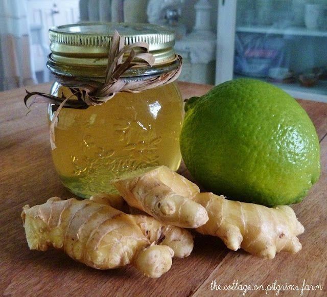 """""""Gingerade"""" contre la toux et le rhume. Râper une racine de gingembre, mettre dans 4 tasses d'eau chaude, laisser refroidir, filtrer, ajouter du zeste de citron et du miel."""