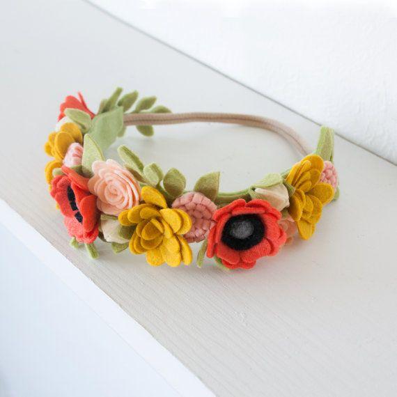 Felt Flower Crown Poppy Girl One Crown by littleflohra on Etsy