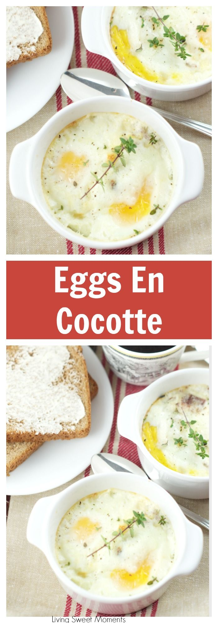 These delicious Baked Eggs En Cocotte are so easy to make and the perfect dish to serve for a brunch or for breakfast. I add delicious bacon and cheese. More brunch recipes at livingsweetmoments.com via @Livingsmoments