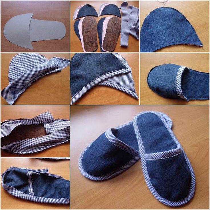 How to DIY Simple Denim Home Slippers | iCreativeIdeas.com Follow Us on Facebook --> https://www.facebook.com/icreativeideas