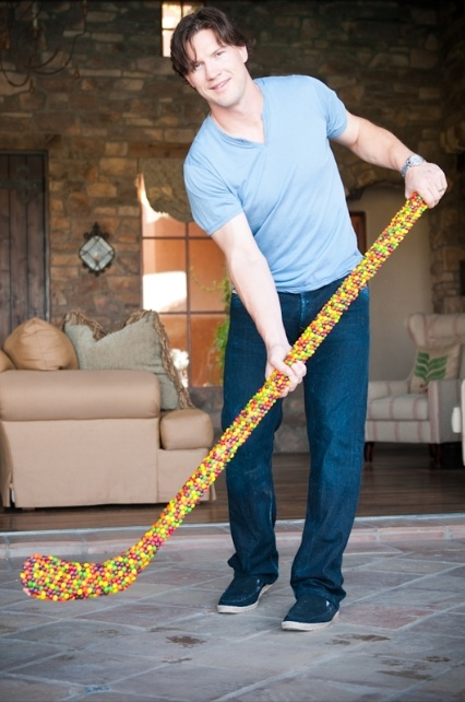 "This is all kinds of awesome: ""Skittles has made a hockey stick out of the candy for Skittles superfan, the Phoenix Coyotes' Shane Doan."""