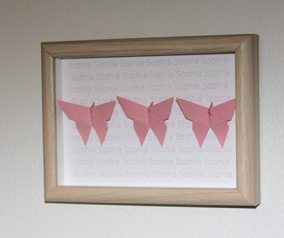 Personalised pink butterfly frame medium by OzigamiDesigns on Etsy