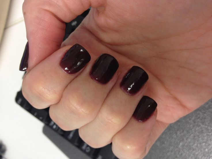Another shot of my new shorter SNS nails, really dark maroon colour ...
