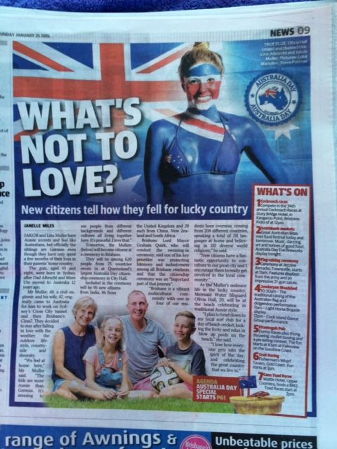 My Body Painting to celebrate Australia Day, photographed by Luke Marsden for the Sunday Mail Jan 25th 2015