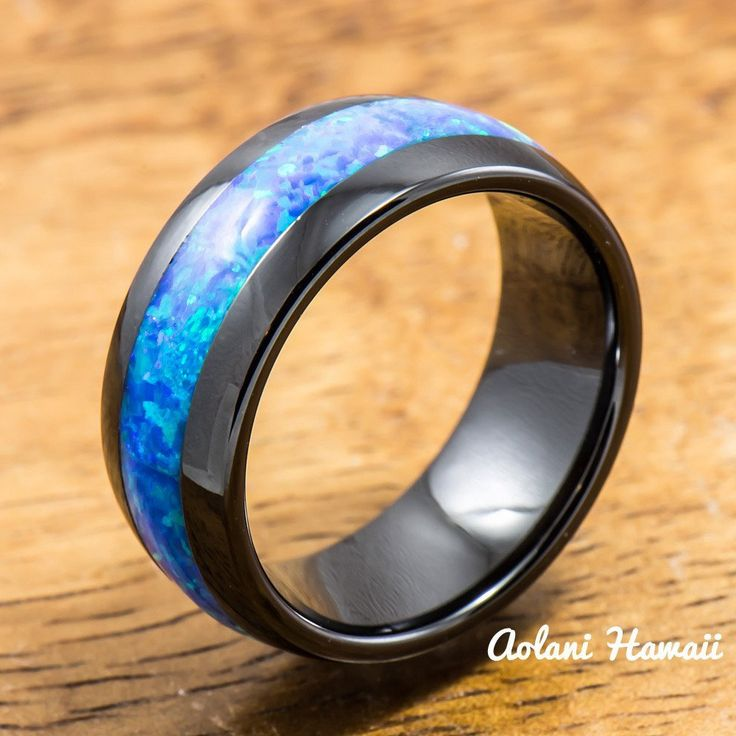 Black Ceramic Ring With Opal Inlay 8mm Width Barrel Shape Style Comfort Fitment