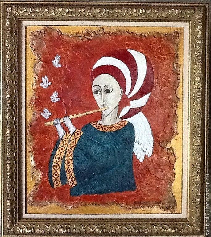 Купить Ангел с флейтой ( Авторская работа ) - ангел, флейта, наив, готический, подарок