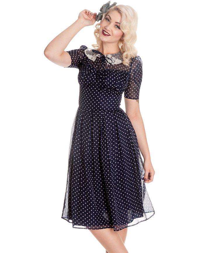 Navy blue vintage style dresses