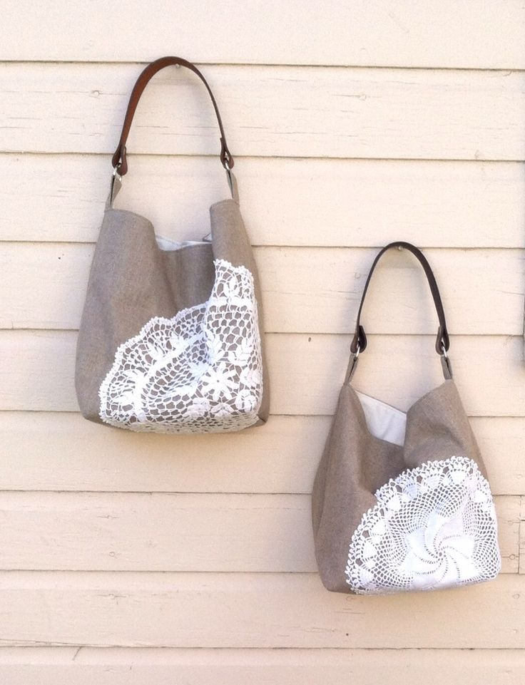 Linen Burlap and Vintage Doily Hobo Bags by Juneberry Stitches