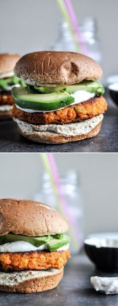 Smoky Sweet Potato Burgers with Roasted Garlic Cream and Avocado - remove any dairy from the recipe.