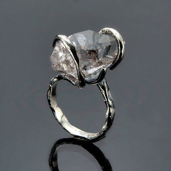 Wedding Raw diamond ring, Herkimer diamond Engagement ring Sterling silver Raw Quartz ring Gemstone jewelry Healing crystal Rough ring
