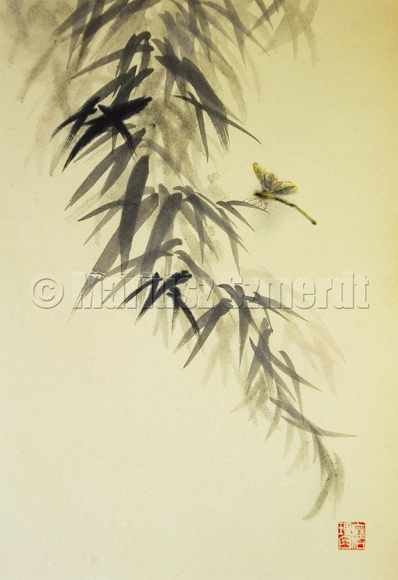 DRAGONFLY sumie INK PAINTING Mariusz Szmerdt 12x175 by Asianature, $130.00