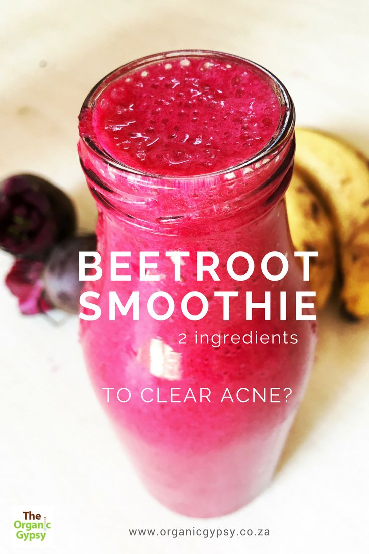 This simple, quick and tasty beetroot smoothie recipe helps clear acne. It is a great smoothie that nourishes your liver and blood, will allow your skin to glow. Your skin tells you that something isn't working optimally in your body.Recipe:2 x bananas2 x small beets Blend up and enjoy.