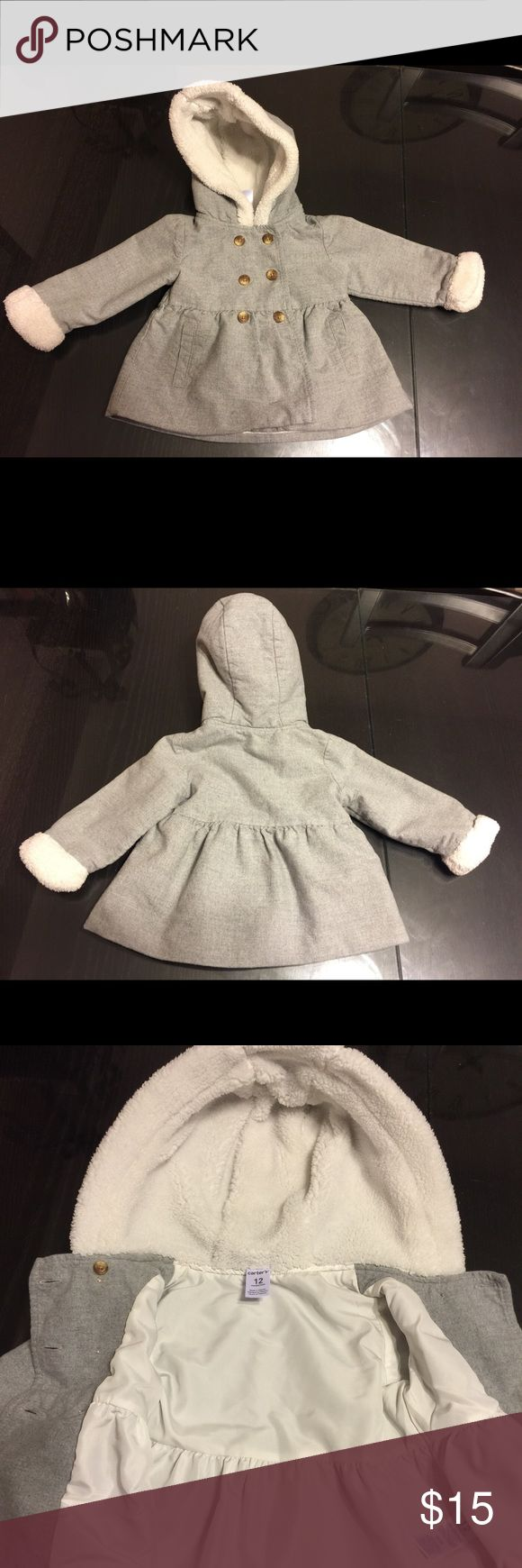 Baby girl peacoat Grey and white coat. Very cute when paired with jeans and boots. Barely used. Carter's Jackets & Coats Pea Coats