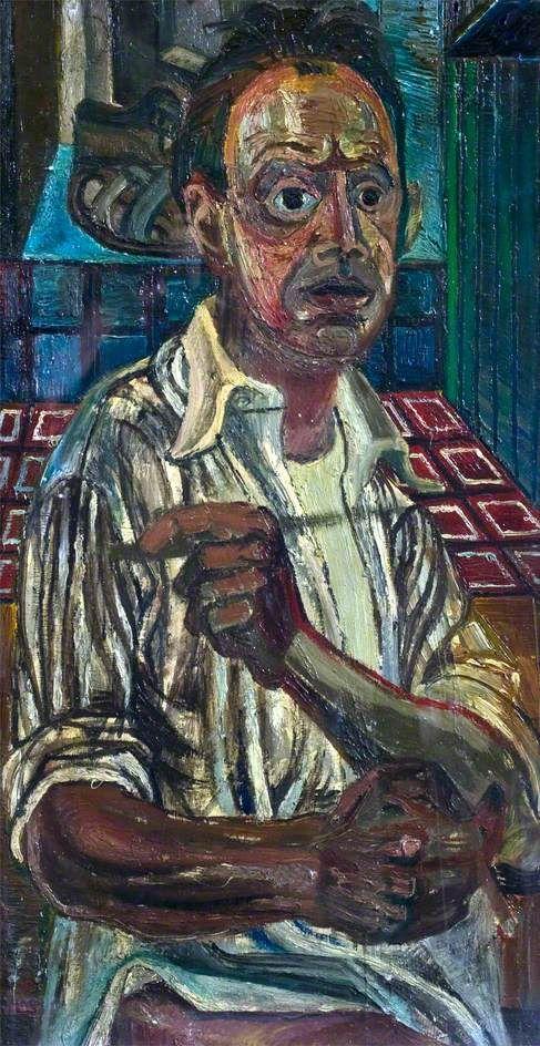 Self Portrait with Sandals - John Bratby