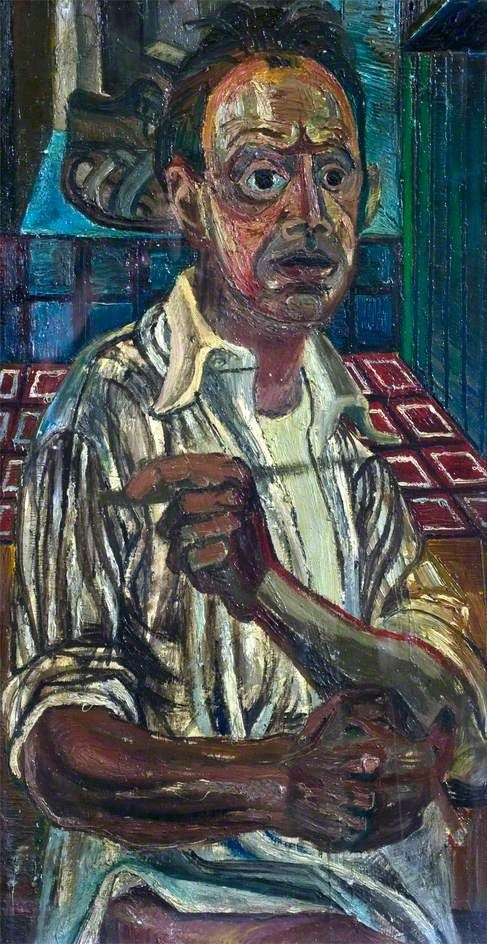 Self Portrait with Sandals - John Bratby