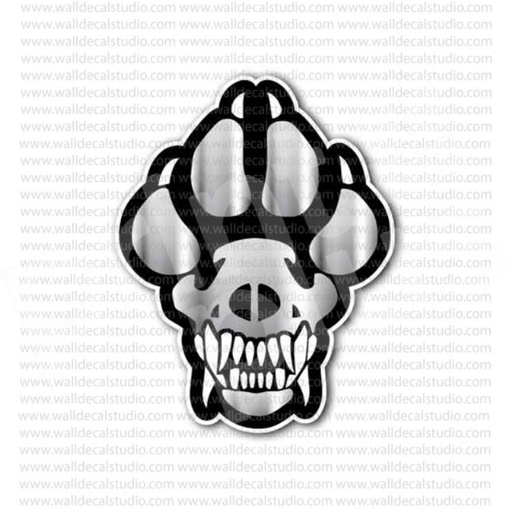 K9 dog paw skull sticker
