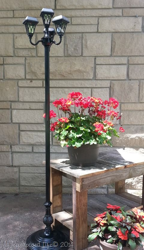 My Repurposed Life will show you how to use repurposed floor lamps as patio solar lights. Newfangled solar lights now charge in the shade. woot woot!
