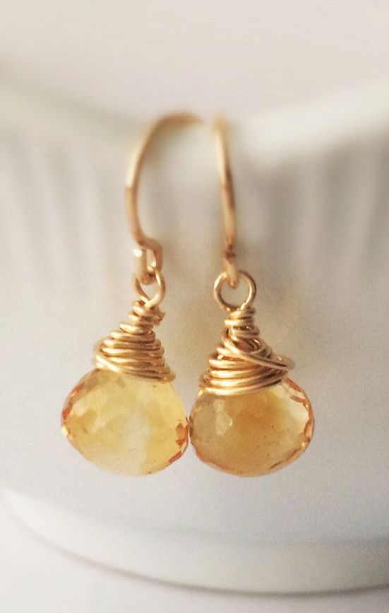 Faceted Citrine Onion Briolette 14k Gold Fill