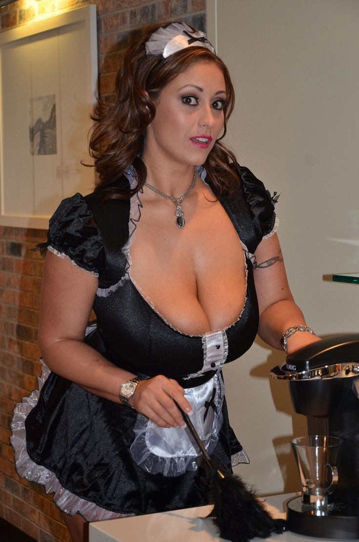 September's big boobs out of a french maid costume