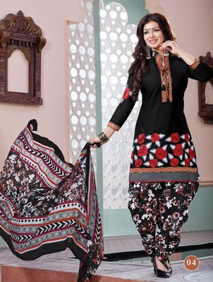 Bollywood Ayesha Takia Cute Designer Black Cambric Embroidery Patiala Suit By Kana Fashion Patiala Salwar Suit
