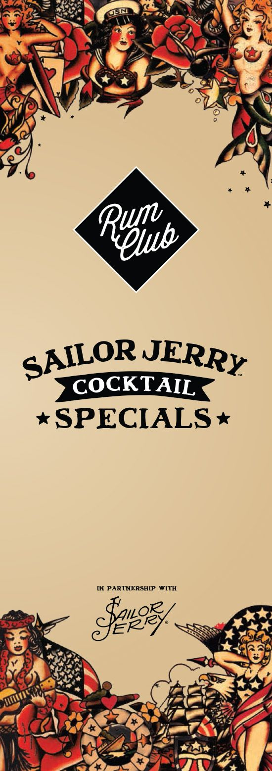 Sailor Jerry Menu Design for Revolucion de Cuba Bars, Graphic Design by www.diagramdesign.co.uk