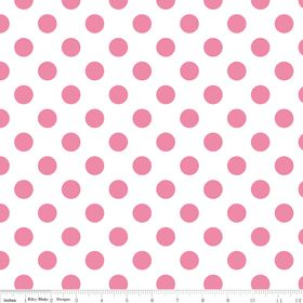 Medium Dots in White with Hot Pink, $9.50/yd, $4.75 per half yard