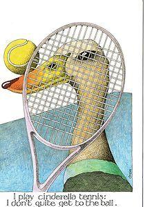 Simon Drew Funny Greetings Card Cinderella Tennis