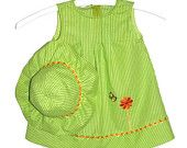 Adorable Green Striped Plisse Dress with Flower & Butterfly Appliques and Matching Sun Hat, Easy Care Cotton, 3 Sizes