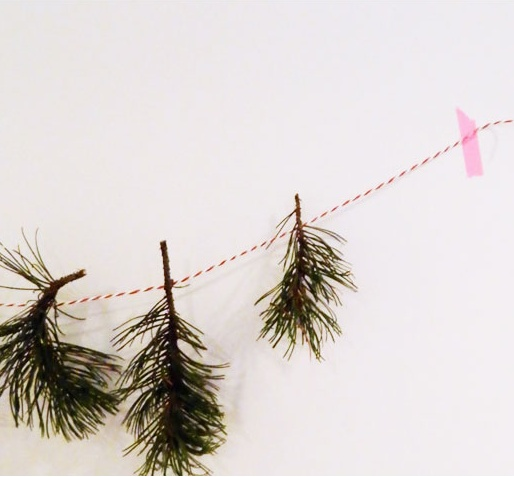 DIY Garland - bakers twine + washi tape + found pine branches