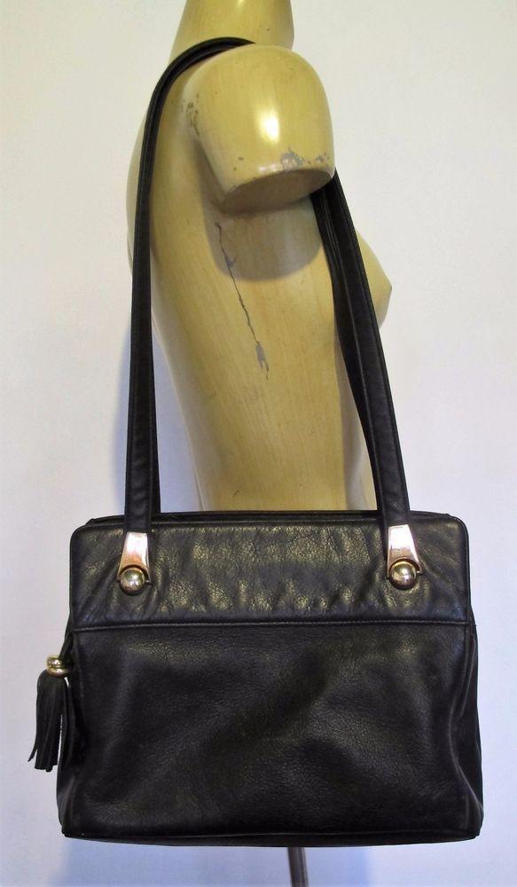 BAG Black Genuine LEATHER Shoulder 3 zip pockets AURIELLE Handbag Hand Classic