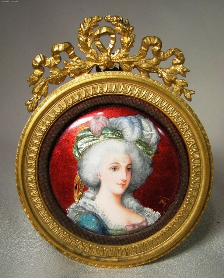 Antique French Hand Painted Enamel Ladies Portrait Artist Signed Framed