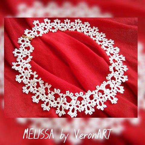 MELISSA fehér hajócsipke menyasszonyi/alkalmi nyaklánc fehér gyöngyökkel, horgolt, Esküvő, Ékszer, óra, Esküvői ékszer, Nyaklánc, Meska