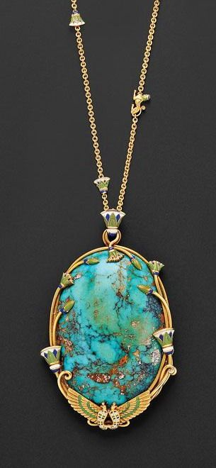 Egyptian Revival 18kt Gold, Turquoise, and Enamel Pendant Necklace, Marcus & Co.