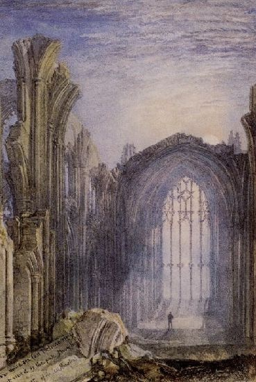 Melrose Abbey is by Joseph Mallord William Turner, 1775-1851, British Romantic landscape painter, watercolorist and printmaker.