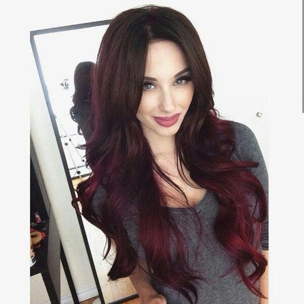 brown & burgundy hair