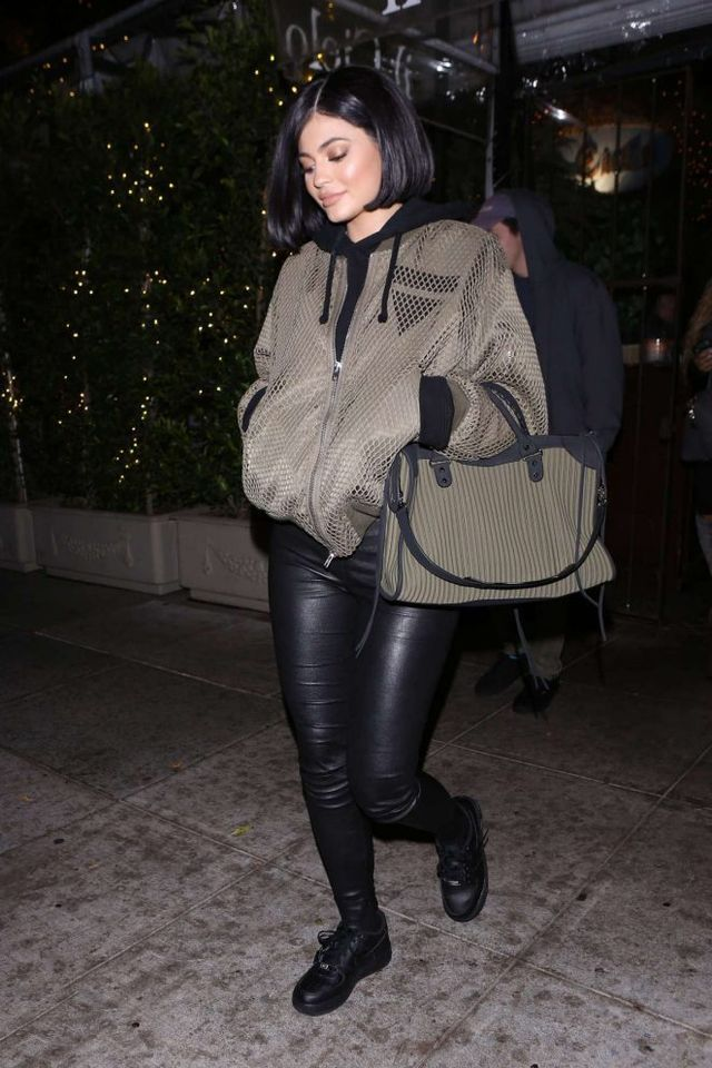 Splurge: Kylie Jenner's Il Cielo Restaurant Alexander Wang Net Boyfriend Bomber Jacket and Balenciaga City Leather-Trimmed Quilted Cotton Tote