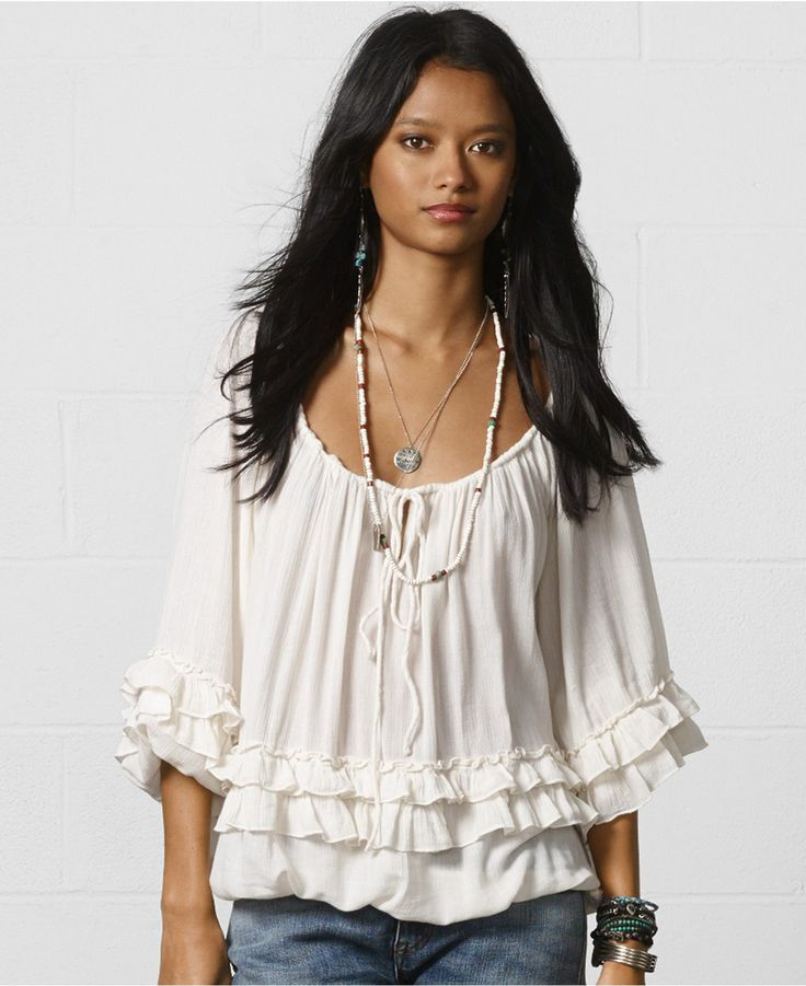 Wonderful Polo Ralph Lauren Womenu0026#39;s Sheer Ruffled Silk Blouse Top | EBay