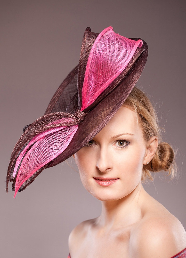 Derby-Bow-Straw-Hat-Cocktail Hat-Brown-Pink-Saucer-Hat-Wedding-Racing-Races-Fascinator-Raspberry-Pale. £119.00, via Etsy.